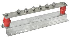 MAIN GROUND BAR 6 WAY C/W MILD STEEL BRACKET 40MMX6MMX350MM product photo