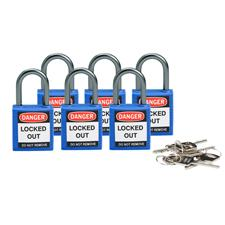 "COMPACT SAFETY PADLOCK 1"" BLUE KD 6/PACKAGE product photo"
