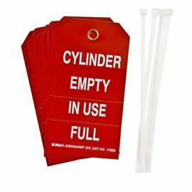 "CYLINDER EMPTY IN USE FULL TAG 5.75""X3"" WT/RD 10PCS/PK product photo"
