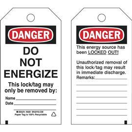 "B853 LOCKOUT TAG DANGER DO NOT ENERGIZE 5.75""X3"" BK/RD/WT product photo"