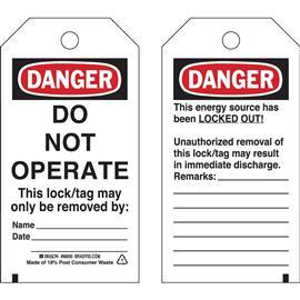 "DANGER LOCKOUT TAG 5 3/4""X3' BLK/RD ON WHI 25PCS/PK product photo"