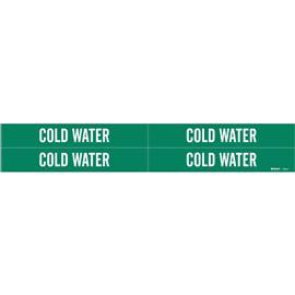 SELF-STICKING VINYL PIPE MARKER LEGEND COLD WATER WT/GN product photo