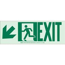 "B523 EXIT SIGN W/ARROW LEFT DOWN 5""X14"" GN/GLOW product photo"