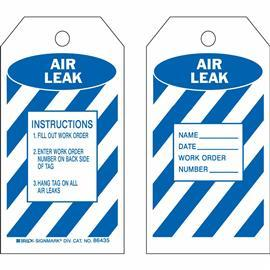 "B837 INSPECTION/MATERIAL CTRL: AIR LEAK TAG 5.75X3"" BLK/WT product photo"