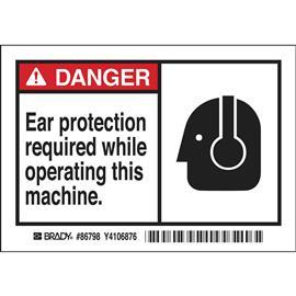 "B302 DANGER EAR PROTECTION REQUIRED WHILE OPERATING 3.5""X5"" product photo"