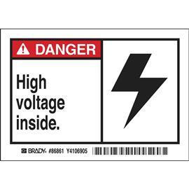 "B302 DANGER HIGH VOLTAGE INSIDE 3.5""X5"" BlK/RD/WT product photo"