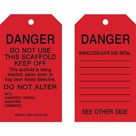 "B837 SCAFFOLDING TAGS DANGER: DO NOT USE 7""X4"" BK/RD product photo"