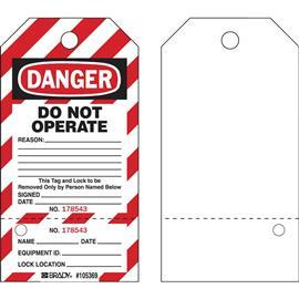 "LOCKOUT TAGS DANGER 5.75""HX3""W BLACK/RED ON WHITE product photo"