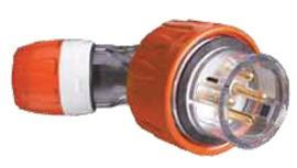 S56 ANGLED PLUG 500V 20A 4R IP66 ORANGE product photo