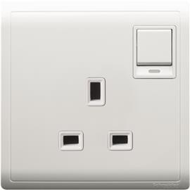 PIENO DP SWITCHED SOCKET WITH NEON & DUAL EARTH 13A 1G WHITE product photo