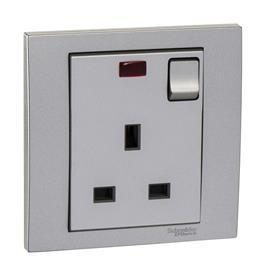 VIVACE SWITCHED SOCKET W/ NEON 13A 250V 1G ALUMINIUM SILVER product photo